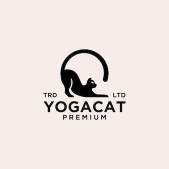 Icône du logo vintage chat yoga pose