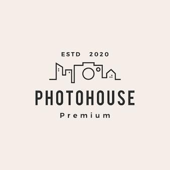 Icône du logo vintage photo house hipster