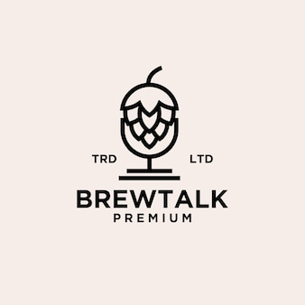 Icône du logo vintage de podcast de brassage