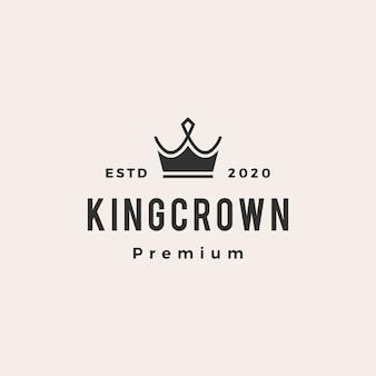 Icône du logo vintage roi couronne hipster
