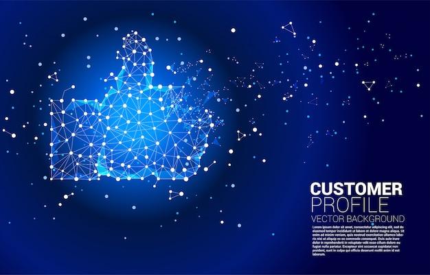 Icône du pouce vers le haut du réseau de polygones de ligne de connexion de points. concept de satisfaction client, de notation client et de classement.