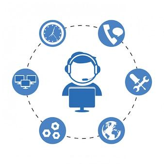 Icône du service technique et du centre d'appel