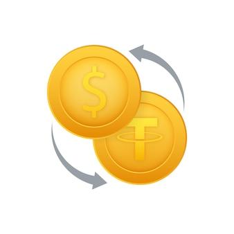 Icône d'échange d'argent signe de monnaie bancaire et crypto tether et symbole de transfert d'argent en dollars
