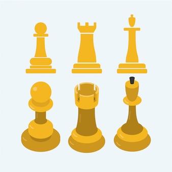 Icône d'échecs 2d à 3d au design plat