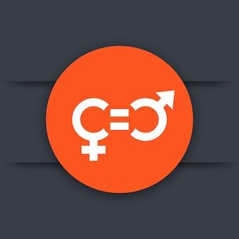 Icône de l'égalité des sexes, pictogramme rond