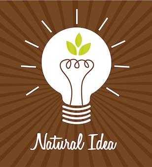 Icône électrique ampoule avec feuilles sur vecteur de fond marron