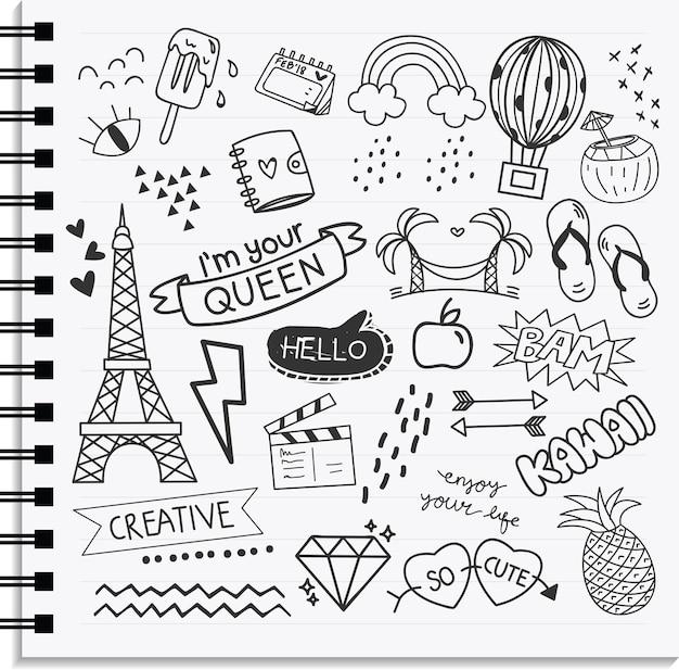 Icône et élément de conception mis en forme de doodle dessiné à la main