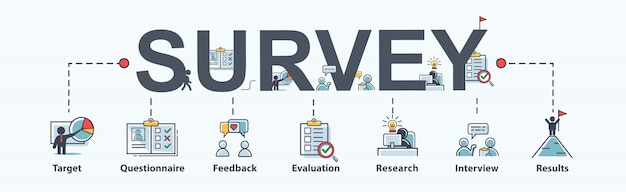 Icône d'enquête pour les entreprises et le marketing, questionnaire, satisfaction et recherche.