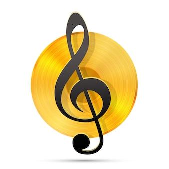 Icône d'enregistrement lp, objet musical gramophone, disque vinyle, illustration vectorielle