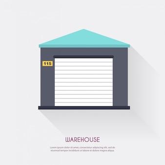 Icône d'entrepôt logistique vide et transport, illustration de stockage.