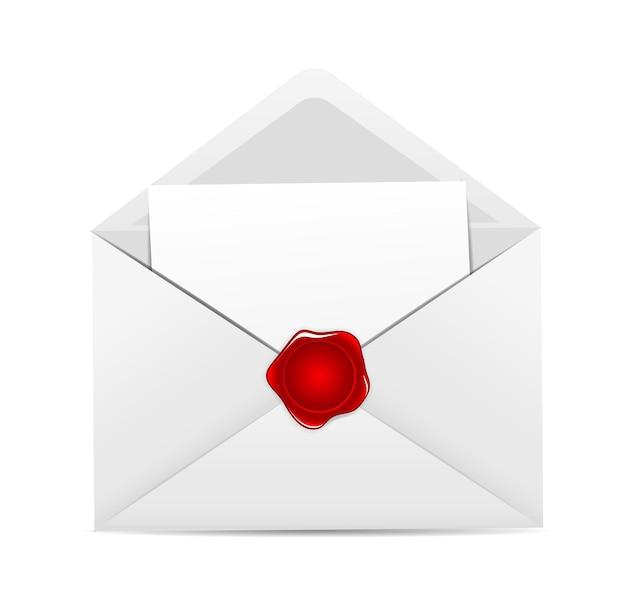 Icône d'enveloppe blanche avec illustration vectorielle de sceau de cire rouge.