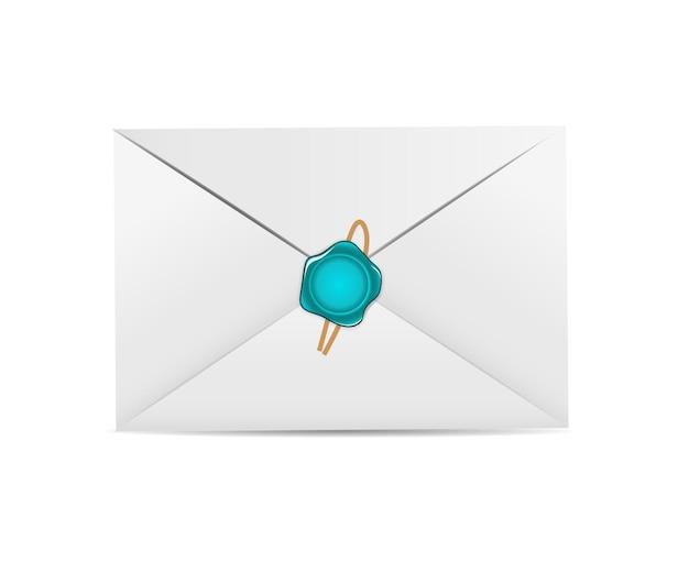 Icône d'enveloppe blanche avec illustration vectorielle de sceau de cire