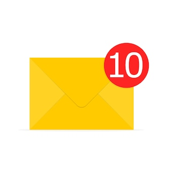 Icône d'enveloppe jaune au design plat