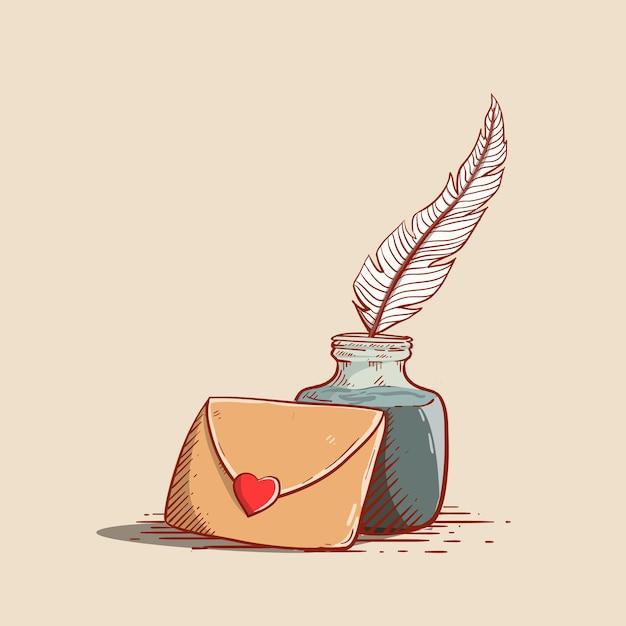 Icône d'enveloppe mignon avec style de gravure inkin plume