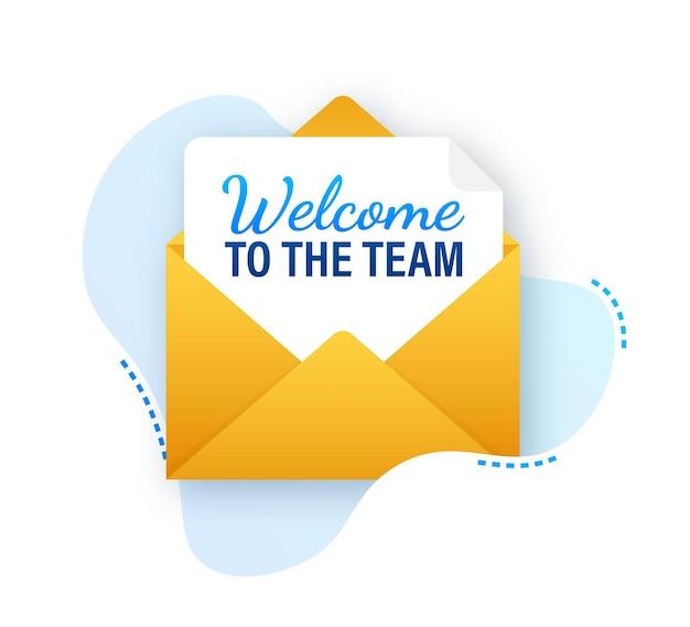 Icône avec équipe de bienvenue pour la conception de bannières. bannière de vecteur de communication d'entreprise. police de dessin animé.