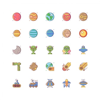 Icône d'espace coloré sertie de ligne remplie de style coloré isolé