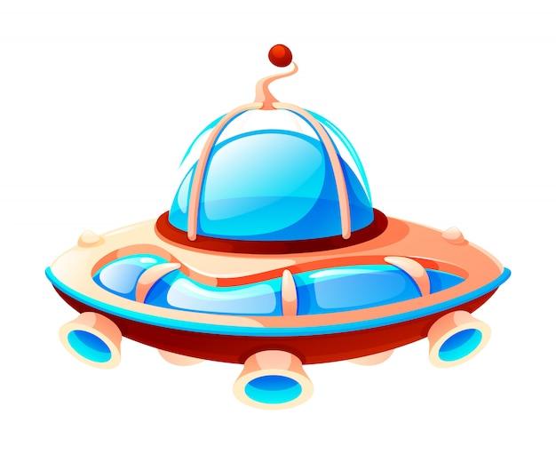 Icône de l'espace de dessin animé d'ovni, vaisseau spatial extraterrestre, isolé au blanc, élément de jeu