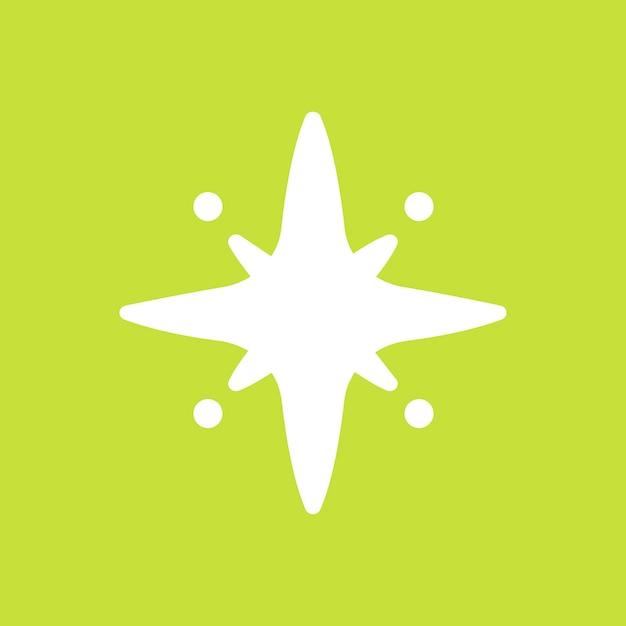 Icône étincelante de vecteur d'étoiles dans un style simple sur fond vert