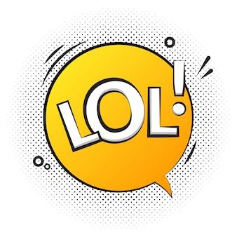 Icône d'étiquette de discours de texte lol. pop rétro vecteur tag design de fond comique.