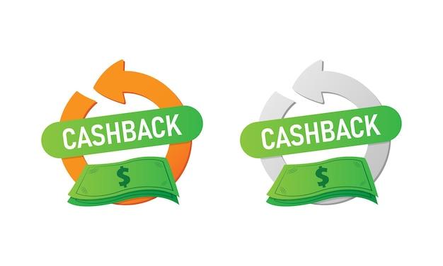 Icône ou étiquette de remise en argent. symbole de remise en argent isolé. rembourser de l'argent. vecteur eps10