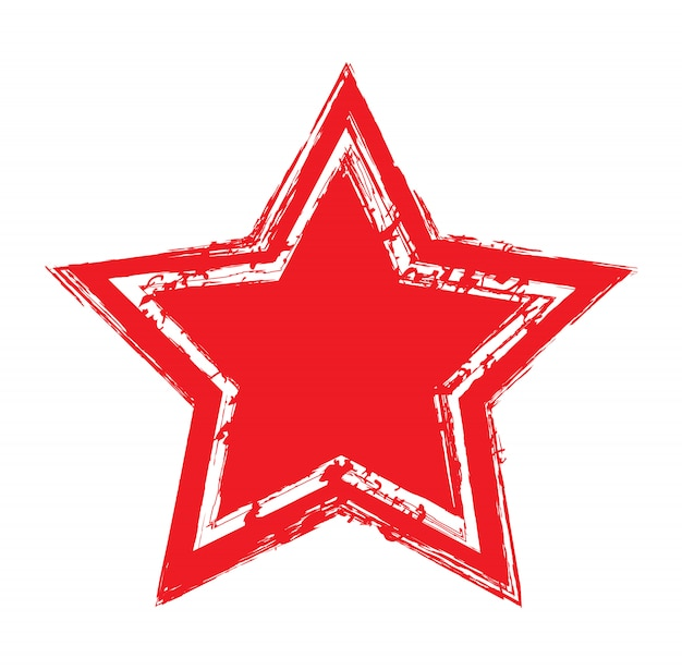 Icône étoile rouge grunge