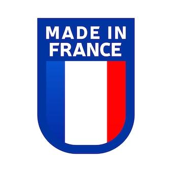 Icône fabriquée en france. drapeau national du pays timbre autocollant. illustration vectorielle icône simple avec indicateur