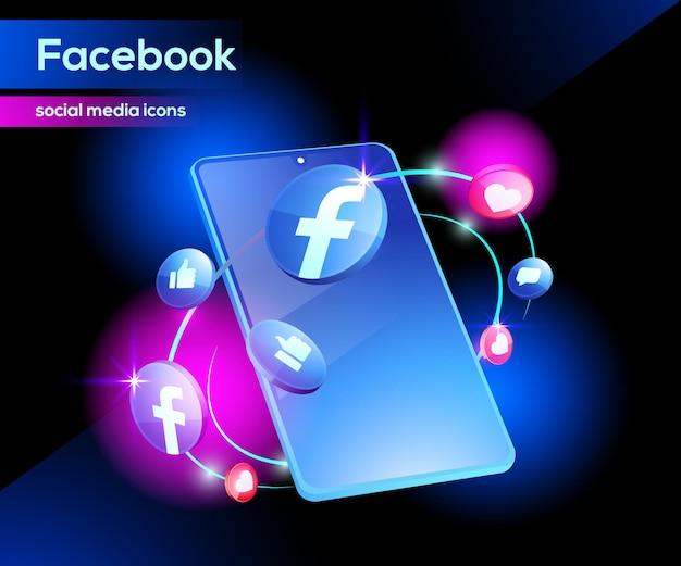 Icône facebook 3d sophistiquée avec smartphone