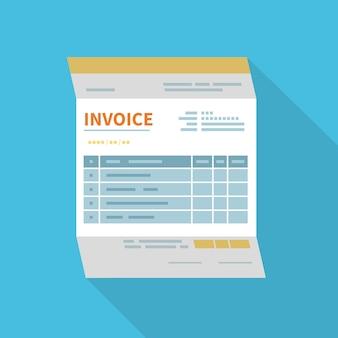 Icône de facture isolée avec une longue ombre. forme minimaliste et non remplie du document.