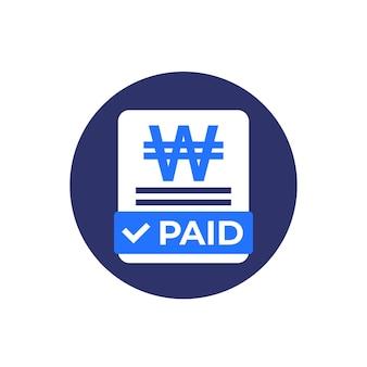 Icône de factures payées avec vecteur plat gagné