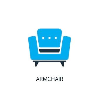 Icône de fauteuil. illustration d'élément de logo. conception de symbole de fauteuil de la collection 2 couleurs. concept de fauteuil simple. peut être utilisé dans le web et le mobile.