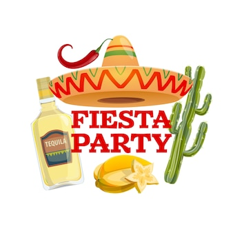 Icône de fête fiesta avec chapeau sombrero mexicain traditionnel