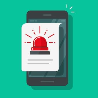 Icône de fichier d'alerte d'alarme de téléphone portable ou message d'avertissement