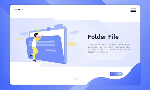 Icône de fichier de dossier dans une illustration plate