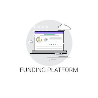 Icône de financement crowdfunding business platform concept