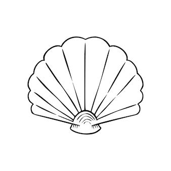 Icône de fine ligne de coquillage, animal et sous-marin