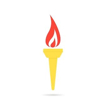 Icône de flamme olympique de couleur. concept de victoire, concours, travail d'équipe, décoration, torche enflammée. style plat tendance flamme olympique moderne logotype art graphique design illustration vectorielle sur fond blanc