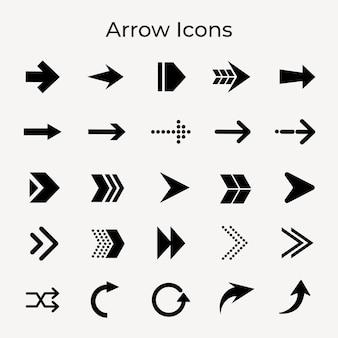 Icône de flèche, autocollant d'affaires noir, ensemble de vecteurs de symbole de direction