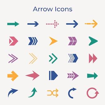 Icône de flèche, autocollant d'entreprise coloré, jeu de vecteurs de symbole de direction