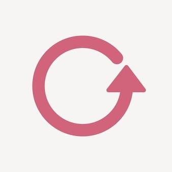 Icône de flèche de cercle, autocollant rose, vecteur de symbole de répétition