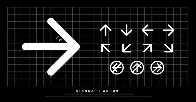 Icône de flèche pictogramme standard moderne autour de la signalisation