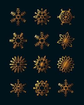 Icône de flocons de neige d'hiver sur fond noir