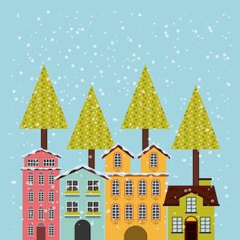 Icône de fond de paysage urbain hiver