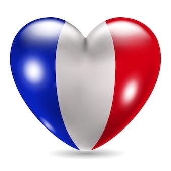 Icône en forme de coeur avec le drapeau de la france sur fond blanc