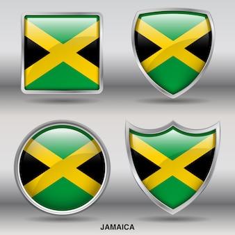 Icône de formes 4 biseau drapeau jamaïque