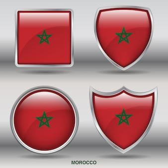 Icône de formes 4 biseau drapeau maroc