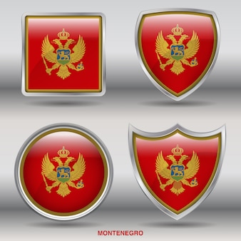 Icône de formes 4 biseau drapeau monténégro