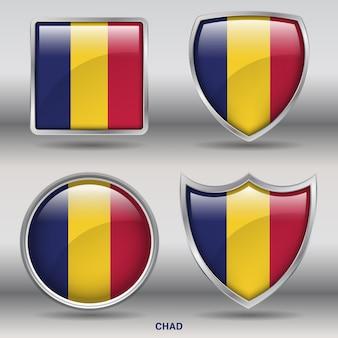 Icône de formes 4 biseau drapeau tchad