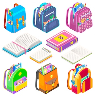 Icône fournitures scolaires cartables et livres sacs set