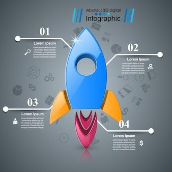 Icône de fusée. illustration abstraite infographique.