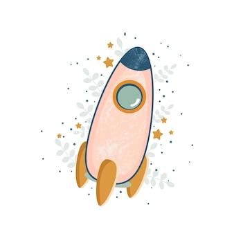 Icône de fusée de lune de vaisseau spatial pour enfants de dessin animé avec des étoiles et des feuilles illustration plate